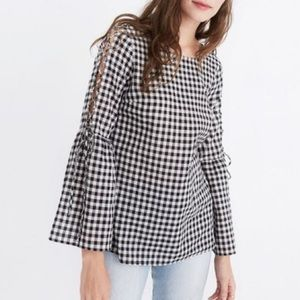Madewell gingham lace bell flare sleeve top